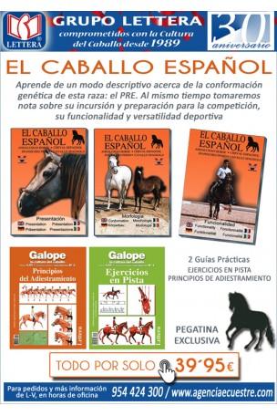 A) EL CABALLO ESPAÑOL 3 DVD´S + 2 GUÍAS PRÁCTICAS + PEGATINA